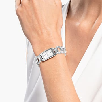 Koktejlové hodinky, plně osazené formou pavé, s kovovým páskem, stříbrné, nerezová ocel - Swarovski, 5519330