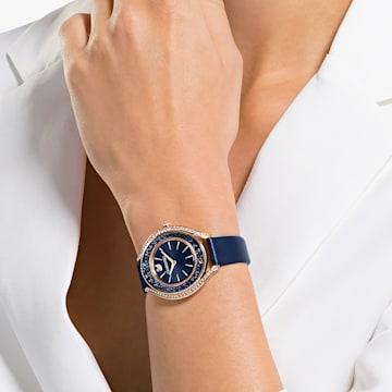 Crystalline Aura-horloge, Leren horlogebandje, Blauw, Roségoudkleurig PVD - Swarovski, 5519447