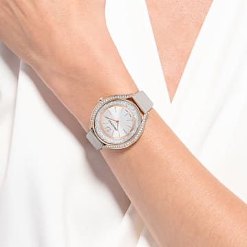Orologio Crystalline Aura, cinturino in pelle, grigio, PVD oro rosa - Swarovski, 5519450