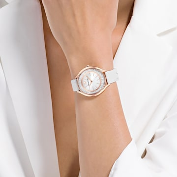 Crystalline Aura 手錶, 真皮錶帶, 白色, 玫瑰金色調PVD - Swarovski, 5519453
