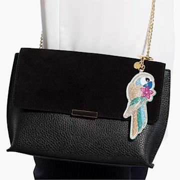 Tropical Parrot Bag Charm, Dark multi-colored, Gold-tone plated - Swarovski, 5520615