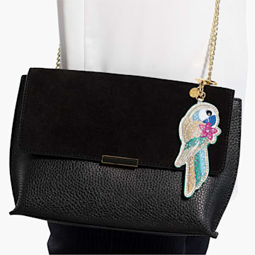 Tropical Parrot Bag Charm, Dark multi-coloured, Gold-tone plated - Swarovski, 5520615