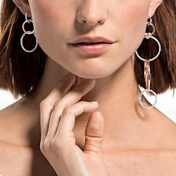 Brincos para orelhas furadas Lifelong Heart, brancos, acabamento em vários metais - Swarovski, 5520652