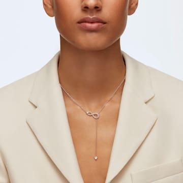 Κολιέ Y Swarovski Infinity, λευκό, επιχρυσωμένο σε χρυσή ροζ απόχρωση - Swarovski, 5521346