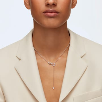 Swarovski Infinity Y necklace, Infinity, White, Rose-gold tone plated - Swarovski, 5521346