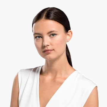 So Cool csapos bedugós fülbevaló, fehér, ródium bevonattal - Swarovski, 5521735