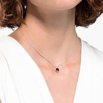 Születési hónapra utaló medál, február, lila, ródium bevonattal - Swarovski, 5522773