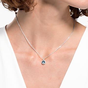 Birthstone 链坠, 三月, 海蓝色, 镀铑 - Swarovski, 5522774