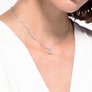 Birthstone 链坠, 六月, 粉红色, 镀铑 - Swarovski, 5522778
