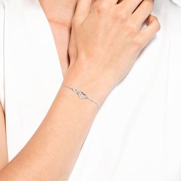 Pulsera Swarovski Infinity, Infinito y corazón, Blanco, Baño de rodio - Swarovski, 5524421