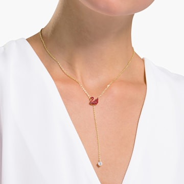 Iconic Swan Y形项链, 红色, 镀金色调 - Swarovski, 5527408