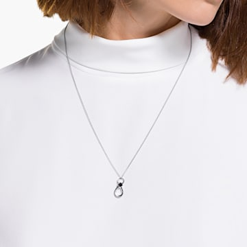 Swarovski Infinity Pendant, Black, Rhodium plated - Swarovski, 5528109