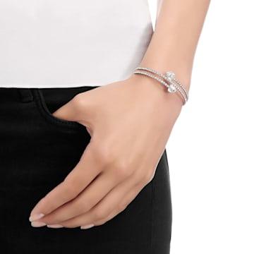 Twisty bangle, Medium, White, Rhodium plated - Swarovski, 5528444