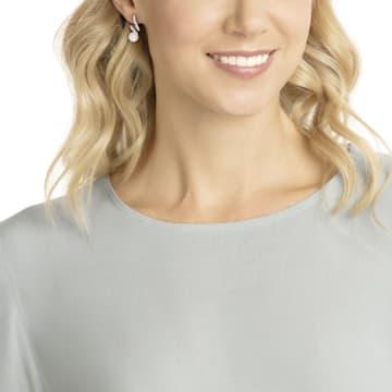 Boucles d'oreilles Gabriella Pearl, blanc, Métal rhodié - Swarovski, 5528447