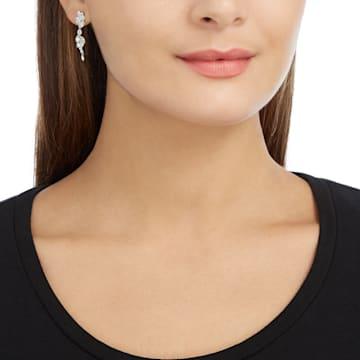 Diapason 穿孔耳环, 白色, 镀铑 - Swarovski, 5528452