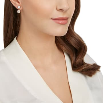 Forward 穿孔耳環花托, 白色, 鍍玫瑰金色調 - Swarovski, 5528490