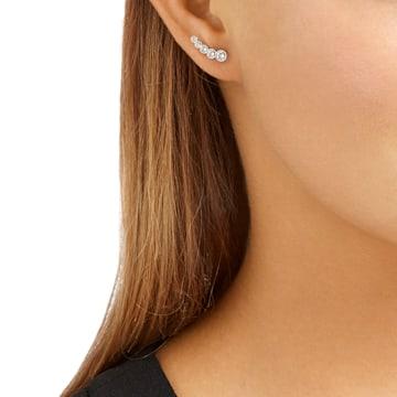 Harley 穿孔耳环, 白色, 镀铑 - Swarovski, 5528502