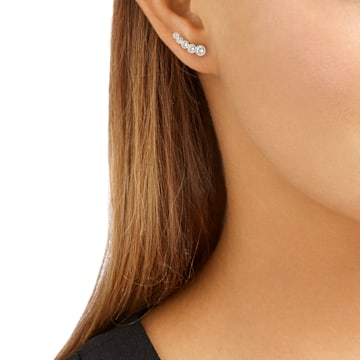 Harley 穿孔耳環, 白色, 鍍白金色 - Swarovski, 5528502