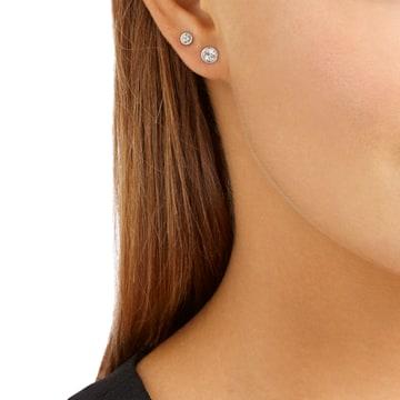 Harley 穿孔耳環套裝, 黑色, 鍍白金色 - Swarovski, 5528504