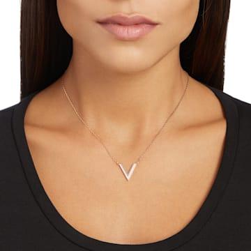 Delta Halskette, weiss, Rosé vergoldet - Swarovski, 5528910
