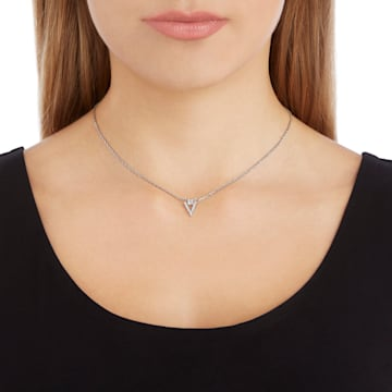 Funk Necklace, White, Rhodium plated - Swarovski, 5528933