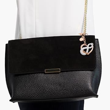 Infinite bag charm, Infinity and heart, White, Mixed metal finish - Swarovski, 5530885