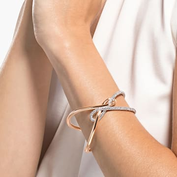 Swarovski Infinity-brede armband, Wit, Gemengde metalen afwerking - Swarovski, 5532399
