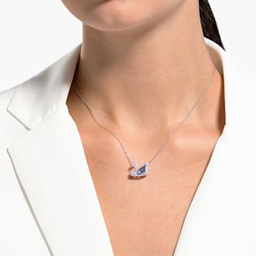 Dancing Swan Halskette, blau, rhodiniert - Swarovski, 5533397