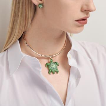 Orecchini Mustique Sea Life Turtle, verde, placcato color oro - Swarovski, 5533757