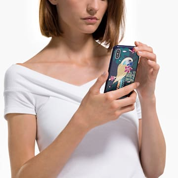 Tropical Parrot 智能手機防震保護套, iPhone® XS Max, 深色漸變 - Swarovski, 5533973
