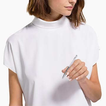 Penna a sfera Crystalline Nova, bianco, cromato - Swarovski, 5534324