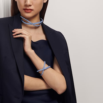 Manchette Tigris, bleu, métal plaqué ruthénium - Swarovski, 5534521
