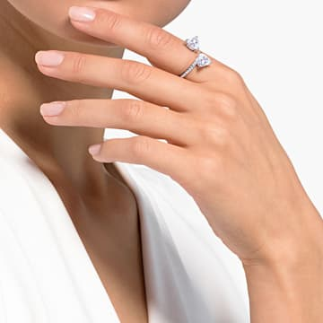 Inel inimă Attract Soul, alb, placat cu rodiu - Swarovski, 5535192