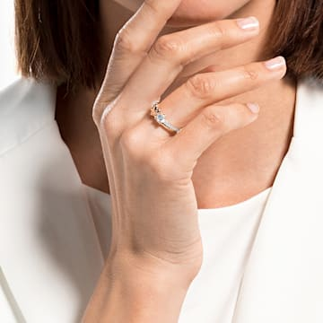 Anillo Lifelong Heart, blanco, combinación de acabados metálicos - Swarovski, 5535397