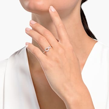 Δαχτυλίδι Swarovski Infinity, λευκό, επιχρυσωμένο σε χρυσή ροζ απόχρωση - Swarovski, 5535400