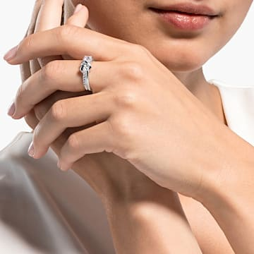 Lifelong Heart Ring, White, Rhodium plated - Swarovski, 5535409