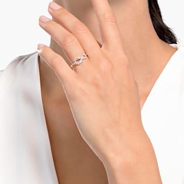 Δαχτυλίδι Swarovski Infinity, λευκό, επιχρυσωμένο σε χρυσή ροζ απόχρωση - Swarovski, 5535412