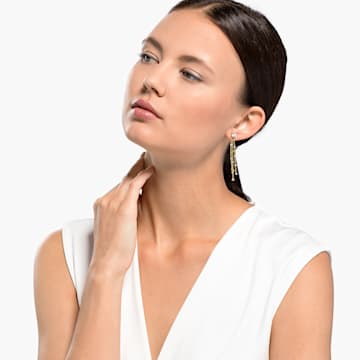 Botanical Tassel 穿孔耳环, 白色, 镀金色调 - Swarovski, 5535791