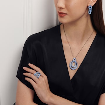 Tigris 穿孔耳環, 藍色, 鍍黑鉻色 - Swarovski, 5535899
