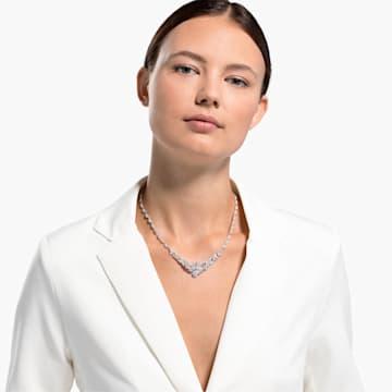 Collier Dancing Swan, blanc, métal rhodié - Swarovski, 5536766