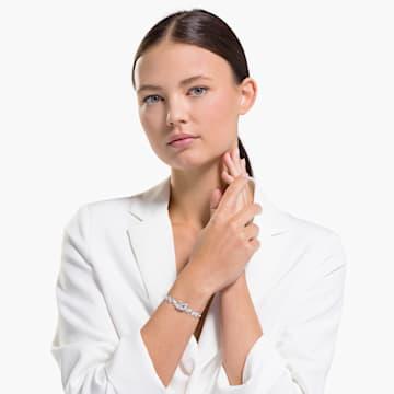 Dancing Swan Bracelet, White, Rhodium plated - Swarovski, 5536767