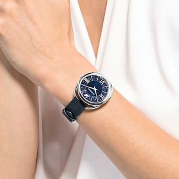 Montre Crystalline Glam, bracelet en cuir, bleu, acier inoxydable - Swarovski, 5537961