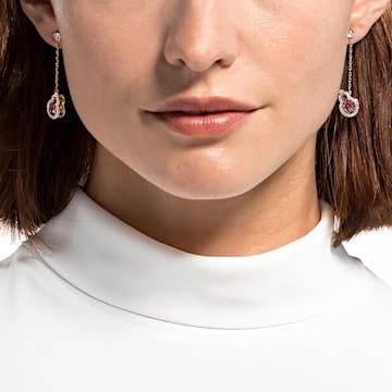 Full Blessing Hulu Pierced Earrings, Red, Rose-gold tone plated - Swarovski, 5539895