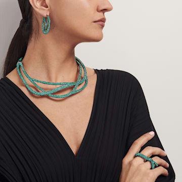 Tigris Double Ring, Green, Ruthenium plated - Swarovski, 5540372
