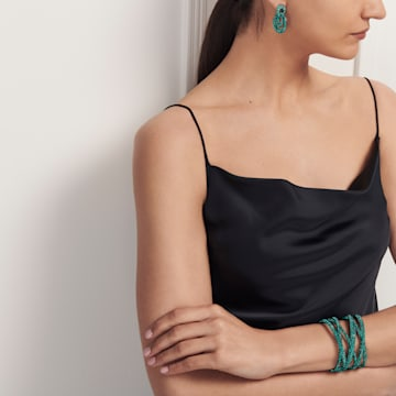 Boucles d'oreilles Tigris, vert, métal plaqué ruthénium - Swarovski, 5540373