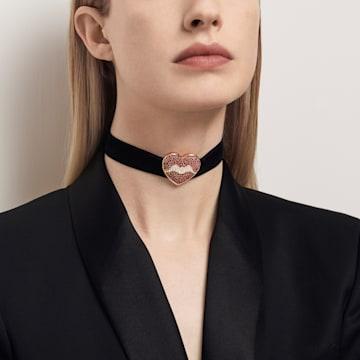 Surreal Dream Halsband, Herz, schwarz, vergoldet - Swarovski, 5540651