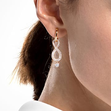 Swarovski Infinity clip earrings, Infinity, White, Rose gold-tone plated - Swarovski, 5543705