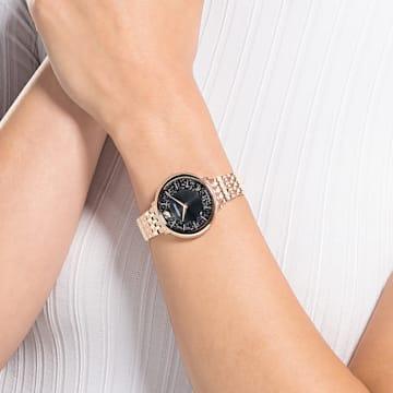 Crystalline Chic Uhr, Metallarmband, Schwarz, Roségoldfarbenes PVD-Finish - Swarovski, 5544587