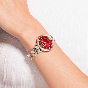 Ceas Crystalline Chic, brățară de metal, roșu, nuanță aur roz aplicată prin depunere fizică de vapori - Swarovski, 5547608