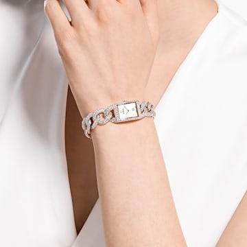 Zegarek Cocktail, Oprawa brukowa pełna , Metalowa bransoletka, W odcieniu różowego złota, Powłoka PVD w odcieniu różowego złota - Swarovski, 5547614